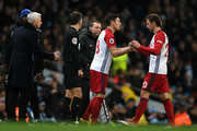 Gareth Barry of West Bromwich Albion comes on for Grzegorz Krychowiak of West Bromwich Albion during the Premier League match between Manchester City and West Bromwich Albion at Etihad Stadium on January 31, 2018 in Manchester, England.