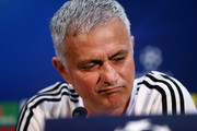 Jose Mourinho, Manager of Manchester United reacts during a press conference ahead of their UEFA Champions League Group H match against Juventus at Aon Training Complex on October 22, 2018 in Manchester, England.