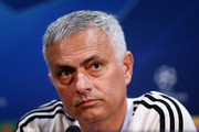 Jose Mourinho, Manager of Manchester United looks on during a press conference ahead of their UEFA Champions League Group H match against Juventus at Aon Training Complex on October 22, 2018 in Manchester, England.