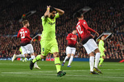 Luis Suarez of Barcelona reacts during the UEFA Champions League Quarter Final first leg match between Manchester United and FC Barcelona at Old Trafford on April 10, 2019 in Manchester, England.