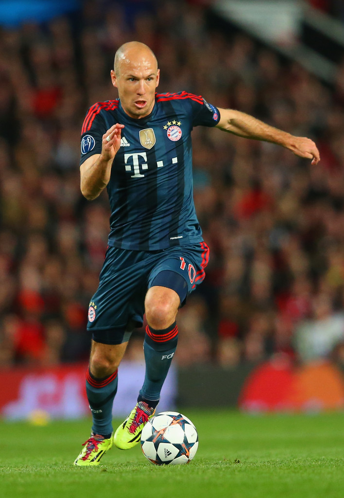 Arjen Robben controls the ball during the UEFA Champions