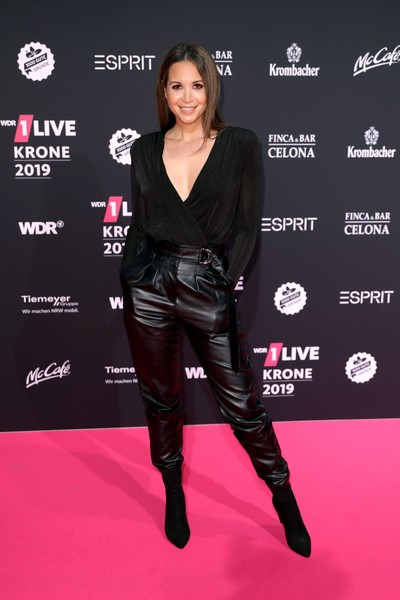 1Live Krone 2019 Radio Award [clothing,carpet,red carpet,knee-high boot,footwear,latex clothing,premiere,leggings,leather,flooring,1live krone 2019 radio award,radio award,1live krone,jahrhunderthalle,bochum,germany,mandy capristo]