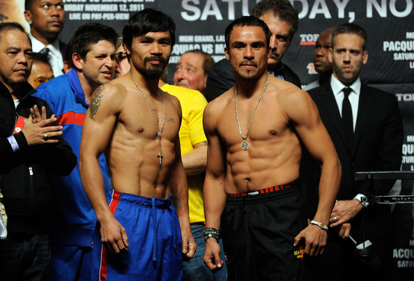 Manny Pacquiao v Juan Manuel Marquez - Weigh-In [barechested,muscle,bodybuilding,event,room,contact sport,championship,chest,striking combat sports,competition,manny pacquiao,juan manuel marquez,boxers,v,ring,las vegas,l,weigh-in,bout,meet]