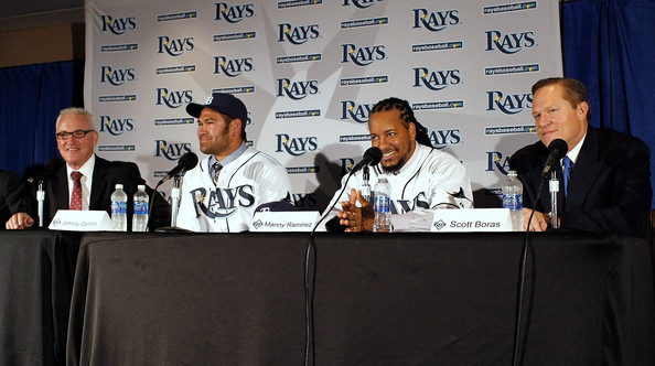 Johnny Damon And Manny Ramirez Are Introduced By The Tampa Bay Rays