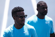 Justin Gatlin and Isiah Young (L) of the U.S. warm up before the 'Mano a Mano Athletics Challenge' at the Brazilian Jockey Club on october 01, 2017 in Rio de Janeiro, Brazil.