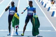 Justin Gatlin of the U.S. and Paulo Andre de Oliveira of Brazil gestures after the 'Mano a Mano Athletics Challenge' at the Brazilian Jockey Club on october 01, 2017 in Rio de Janeiro, Brazil.