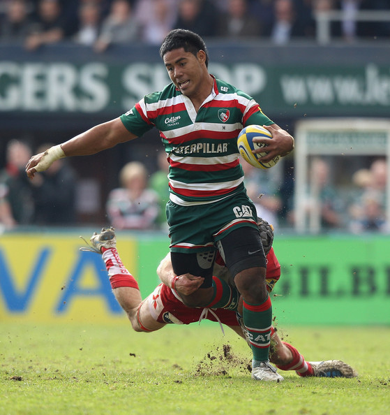 Leicester Centre Manu Tuilagi Is Tackled: Leicester Tigers V Gloucester