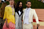 Monaco's Princess Charlotte Casiraghi (L), Italian fashion designer Alessandro Michele (C)  and Jared Leto (R) arrive for the Costume Institute Benefit at The Metropolitan Museum of Art May 2, 2016 in New York. / AFP / TIMOTHY A. CLARY