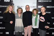 "(L-R) Producer Katharina Otto-Bernstein, HBO Documentary Films president Sheila Nevins, director Randy Barbato, VP HBO Documentary Films Sara Bernstein and director Fenton Bailey attend ""Mapplethorpe: Look At The Pictures"" New York Premiere at Time Warner Center on March 22, 2016 in New York City."