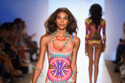 A model walks the runway at the Mara Hoffman Swim fashion show during Mercedes-Benz Fashion Week Swim 2015 at Cabana Grande at The Raleigh on July 19, 2014 in Miami Beach, Florida.