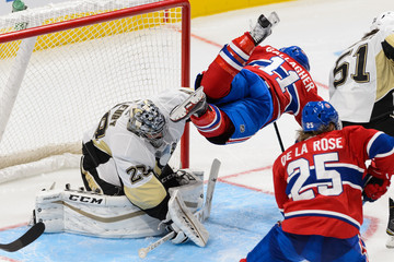 Marc-Andre Fleury Brendan Gallagher Pittsburgh Penguins v Montreal Canadiens