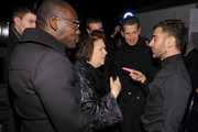 (L-R) Edward Enninful, Suzy Menkes, Stefano Tonchi and designer Marc Jacobs attend Marc Jacobs Collection backstage Fall 2012 at N.Y. State Armory on February 13, 2012 in New York City.
