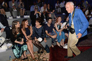 (L-R) Winona Ryder, Christina Ricci, Parker Posey, guest, Deborah Ann Woll, Michelle Dockery and photographer Bill Cunningham attend the Marc Jacobs Spring 2014 fashion show at The New York State Armory, 68 Lexington on September 12, 2013 in New York City.