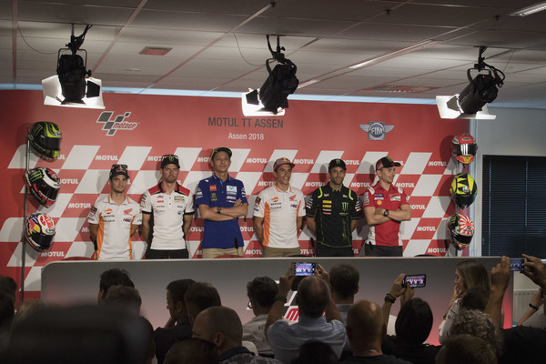 MotoGP Netherlands - Previews [previews,stage equipment,technology,competition,electronic device,event,team,championship,stage,podium,dani pedrosa,cal crutchlow,movistar yamaha motogp,l-r,netherlands,spain,great britain,repsol honda team,lcr honda]