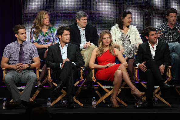 2010 Summer TCA Tour - Day 6 [bryce johnson,chris keyser,kerry kohansky,mark deklin,amy lippman,james wolk,eloise mumford,kyle killen,writer,social group,event,youth,performance,fashion,talent show,team,performing arts,competition,stage,tca]