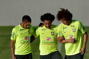 Marcelo Neymar Brazil Training Session and Press Conference - 2014 FIFA World Cup