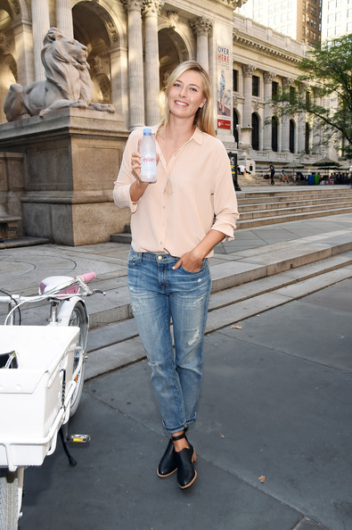 Maria Sharapova - Maria Sharapova Serves Up Evian Bottle Service