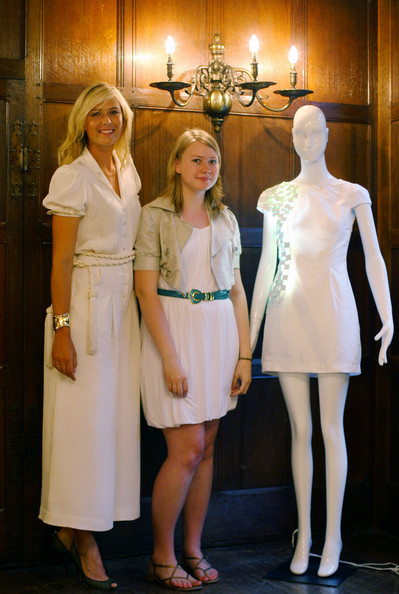 Maria Sharapova, international tennis star and global brand ambassador for Sony Ericsson meets with the winning student of London College of Fashion Georgie Davies at Liberty store as she unveils winning designs from students at the London College of Fashion on June 17, 2009 in London, England.
