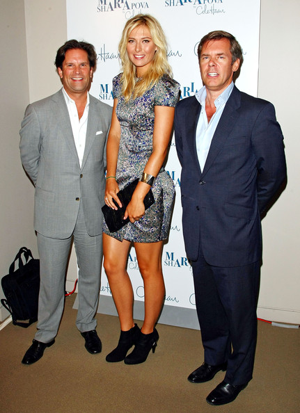 (L-R) Tracy Smith, tennis star Maria Sharapova and Cole Haan CEO Jim Seuss attend the unveiling of her collection at Cole Haan Rockefeller Center Store on August 27, 2009 in New York, New York.