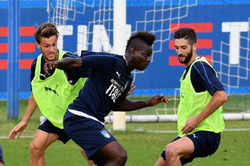 Mario Balotelli Italy Training Session And Press Conference