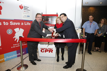 Mario Rodriguez The American Heart Association and Anthem Blue Cross And Blue Shield In Indiana Unveil Hands-Only CPR Training Kiosk At Indianapolis International Airport