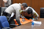 """Marion """"Suge"""" Knight appears in court for his bail hearing at Criminal Courts Building on March 20, 2015 in Los Angeles, California.  Knight collapsed during the court proceedings.  Knight is charged with murder and attempted murder after a hit-and-run incident following an argument in a parking lot on January 29."""