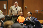 """Marion """"Suge"""" Knight (L) and his attorney Albert DeBlanc during sentencing at the Clara Shortridge Foltz Criminal Justice Center on October 4, 2018 in Los Angeles, California."""
