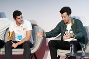 David Aguilar (L) and Mark Ronson appearing at a debate hosted by The LEGO Group to discuss the importance of play in developing creativity on September 17, 2019 in Billund, Denmark.