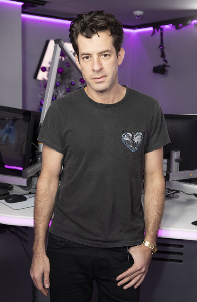 Miley Cyrus And Mark Ronson Visit KISS FM [mark ronson,miley cyrus,kiss fm,t-shirt,fashion,shoulder,muscle,model,neck,black hair,fashion design,chest,magenta,kiss fm studio,london,england]