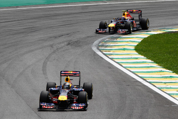 Mark Webber Sebastian Vettel of Germany and Red Bull Racing leads team mate Mark Webber of Australia and Red Bull Racing early in the Brazilian Formula One Grand Prix at the Autodromo Jose Carlos Pace on November 27, 2011 in Sao Paulo, Brazil.