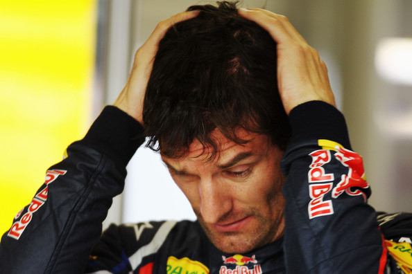 Mark Webber Mark Webber of Australia and Red Bull Racing reacts in his team garage before qualifying for the Chinese Formula One Grand Prix at the Shanghai International Circuit on April 16, 2011 in Shanghai, China.