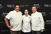 (L-R) Acclaimed Chefs Jose Garces, Stephanie Izard, and Daniel Boulud at Marriott International Event at Spring Studios on April 16, 2018 in New York City. At the event, Marriott announced to its 110 million members, the unification of the Marriott Rewards, The Ritz-Carlton Rewards, and SPG and the expansion of its experiences platform Moments, to over 110,000 across 1,000 cities.