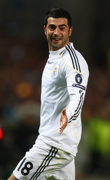 Raul Albiol of Real celebrates scoring his sides second goal during the Marseille v Real Madrid UEFA Champions League Group C match at the Stade Velodrome on December 8, 2009 in Marseille, France.