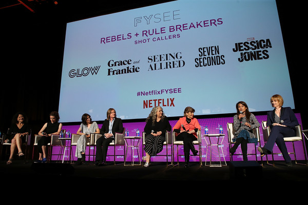 Netflix - Rebels And Rules Breakers For Your Consideration Event - Panels [netflix,rebels and rules breakers for your consideration,event - panels,l-r,event,performance,talent show,stage,design,convention,stage equipment,performing arts,academic conference,heater,debra birnbaum,venna sud,marta kauffman,cindy holland,carly mensch,liz flahive]