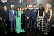 "Josh Stewart, Royce Johnson, Amber Rose Revah, Giorgia Whigham, Jon Bernthal, Ben Barnes, Jason R. Moore and Deborah Ann Woll attend ""Marvel's The Punisher"" Seasons 2 Premiere at ArcLight Hollywood on January 14, 2019 in Hollywood, California."