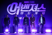 Joe Russo, Anthony Russo, Brie Larson, Robert Downey Jr. and Jeremy Renner attends the press conference for Marvel Studios' 'Avengers: Endgame' South Korea premiere on April 15, 2019 in Seoul, South Korea.