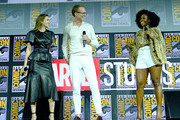 (L-R) Elizabeth Olsen, Paul Bettany and Teyonah Parris of Marvel Studios' 'WandaVision' at the San Diego Comic-Con International 2019 Marvel Studios Panel in Hall H on July 20, 2019 in San Diego, California.