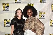 Elizabeth Olsen and Teyonah Parris of Marvel Studios' 'WandaVision' at the San Diego Comic-Con International 2019 Marvel Studios Panel in Hall H on July 20, 2019 in San Diego, California.