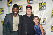 (L-R) Mahershala Ali, President of Marvel Studios Kevin Feige and Lia McHugh at the San Diego Comic-Con International 2019 Marvel Studios Panel in Hall H on July 20, 2019 in San Diego, California.