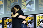 Director Chloe Zhao and Richard Madden of Marvel Studios' 'The Eternals' at the San Diego Comic-Con International 2019 Marvel Studios Panel in Hall H on July 20, 2019 in San Diego, California.