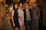 Designer Massimo Rebecchi (2nd R) and wife Malita (L), Martina Colombari (2nd L) and Filippa Lagerback (R) attend the Massimo Rebecchi fashion show as part of Milan Fashion Week Womenswear Autumn/Winter 2011 on February 25, 2011 in Milan, Italy.