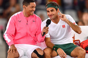 Trevor Noah and Rafael Nadal of Spain during the Match in Africa between Roger Federer and Rafael Nadal at Cape Town Stadium on February 07, 2020 in Cape Town, South Africa.