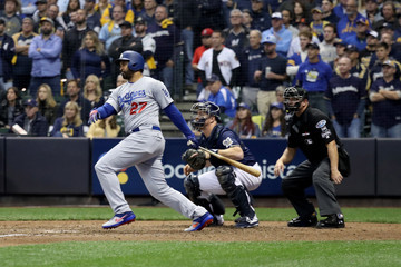 Matt Kemp League Championship Series - Los Angeles Dodgers v Milwaukee Brewers - Game One