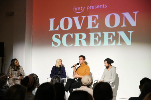 Fire TV Presents: Love on Screen Panel And Screening Event At 'The Museum of Modern Love' [fire tv presents: love on screen panel screening event,the museum of modern love,text,event,font,design,adaptation,public speaking,conversation,convention,brand,performance,matt rogers,candace bushnell,sade strehlke,justin mcleod,l-r,museum of modern love,new york city]