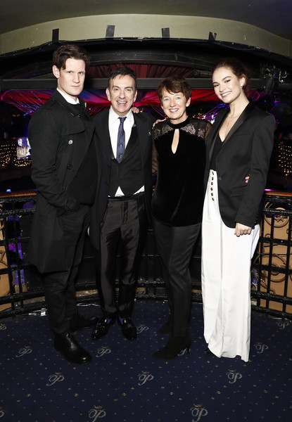 National Youth Theatre Fundraising Evening [suit,formal wear,event,tuxedo,chief executive officer,matt smith,paul roseby obe,dawn airey,lily james,cafe royal,england,london,getty images,national youth theatre fundraising evening]