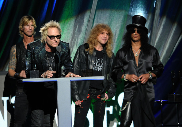 27th Annual Rock And Roll Hall Of Fame Induction Ceremony - Show [performance,event,music artist,performing arts,musician,fashion design,music,stage,pop music,inductees,steven adler,matt sorum,l-r,guns n roses,slash,public hall,cleveland,ohio,rock and roll hall of fame induction ceremony - show]