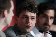 """Director Xavier Dolan and Gabriel D'Almeida Freitas attend the """"Matthias et Maxime (Matthias and Maxime)"""" Press Conference during the 72nd annual Cannes Film Festival on May 23, 2019 in Cannes, France."""
