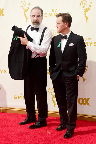 67th Annual Primetime Emmy Awards - Arrivals [red carpet,carpet,suit,event,formal wear,award,tuxedo,flooring,ceremony,premiere,arrivals,mandy patinkin,maury sterling,california,los angeles,microsoft theater,l,primetime emmy awards]