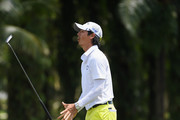 Ryo Ishikawa of Japan reacts after his birdie attempt on the par four 9th hole hole during the third round of the Maybank Championship Malaysia at Saujana Golf and Country Club on February 3, 2018 in Kuala Lumpur, Malaysia.