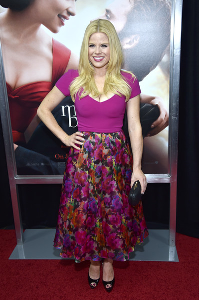 Megan Hilty donned a fitted, low-cut fuchsia top for the world premiere of 'Me Before You.'